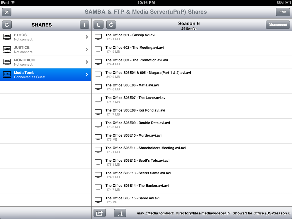 Browsing a UPNP server with Buzz Player app on Ipad | learn