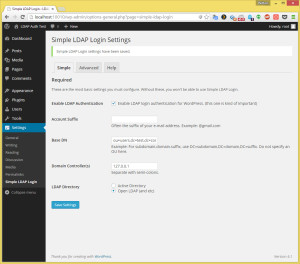 Wordpress Simple LDAP Login Basic settings